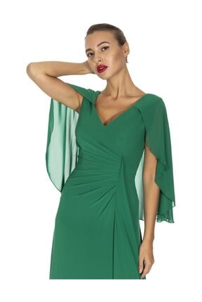 Maxra Govana 5273517 V Yaka Yarasa Kollu Uzun Şifon Elbise 1