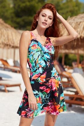 Pierre Cardin Kadın Kalın Askılı Kruvaze Elbise Mayo 201167 Desenli 2