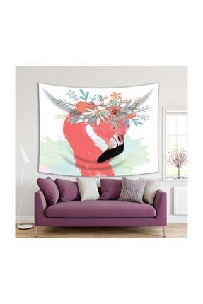 Henge Home Sulu Boya Etkili Pelikan Çiçek Deseni Duvar Örtüsü 0