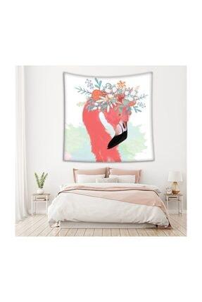 Henge Home Sulu Boya Etkili Pelikan Çiçek Deseni Duvar Örtüsü 1