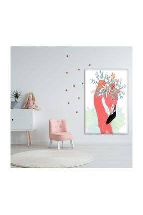 Henge Home Sulu Boya Etkili Pelikan Çiçek Deseni Duvar Örtüsü 2