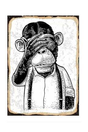 Tablomega Üzgün Maymun Tasarım Ahşap Tablo 25x35cm 0
