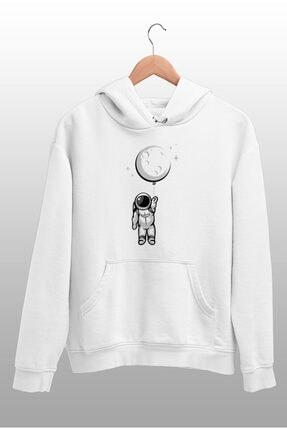 Angemiel Wear Balon Ayı Tutan Astronot Beyaz Erkek Kapüşonlu Sweatshirt Çanta Kombin 2
