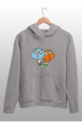 Angemiel Wear Hayran Kalmış Darwin Ve Gumball Gri Kadın Kapüşonlu Sweatshirt Çanta Kombin 2