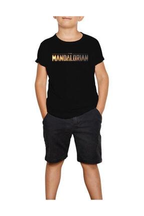 Zepplin Giyim The Mandalorian Logo Siyah Çocuk Tişört 0
