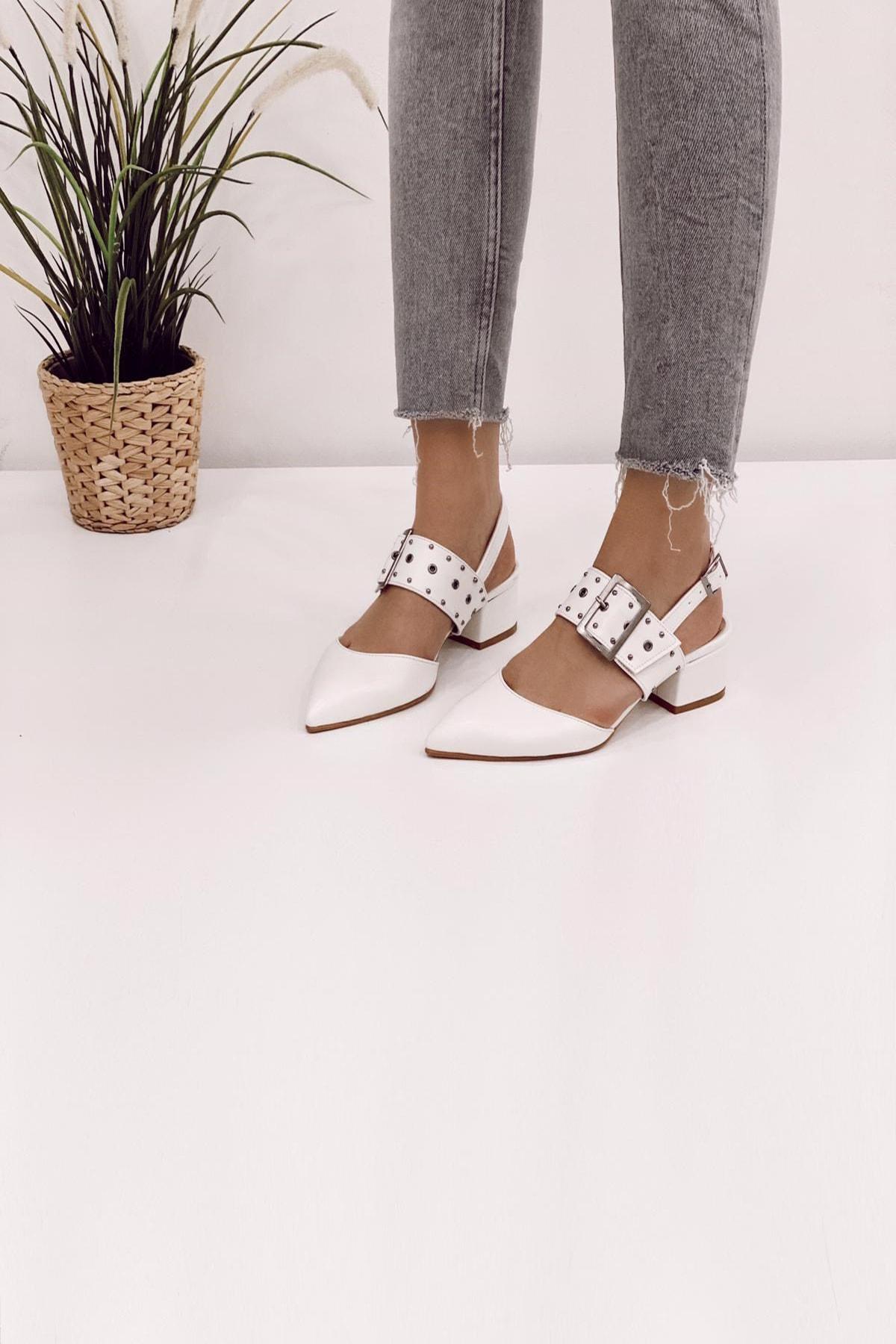 Ayakkabı Modası Beyaz Kadın Klasik Topuklu Ayakkabı 5007-20-119006 0