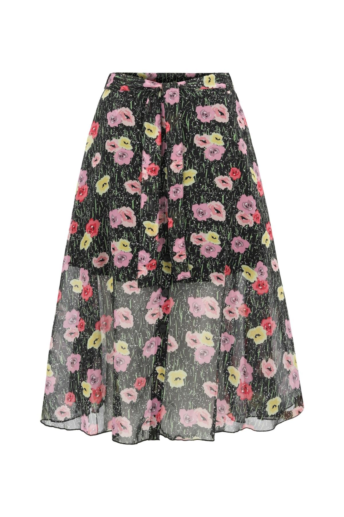 Kadın Çok Renkli Floral Yırtmaçlı Midi Etek 375804