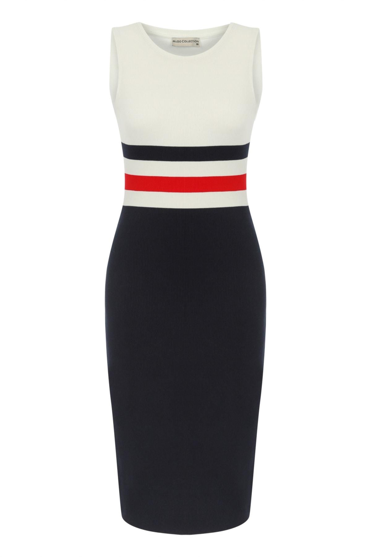 Kadın Beyaz Bisiklet Yaka Çizgili Pamuk Midi Elbise 383589