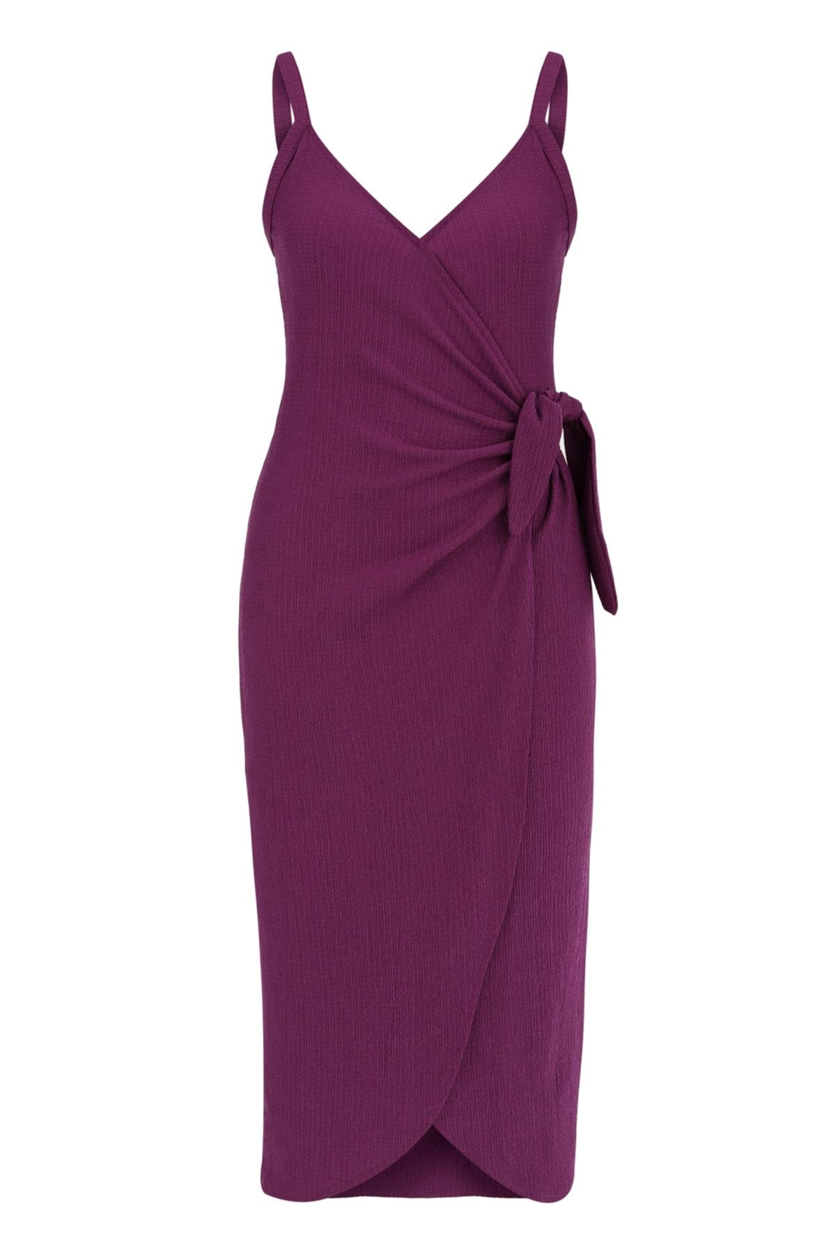 Kadın Mor V Yaka Bağlamalı Midi Elbise 383622
