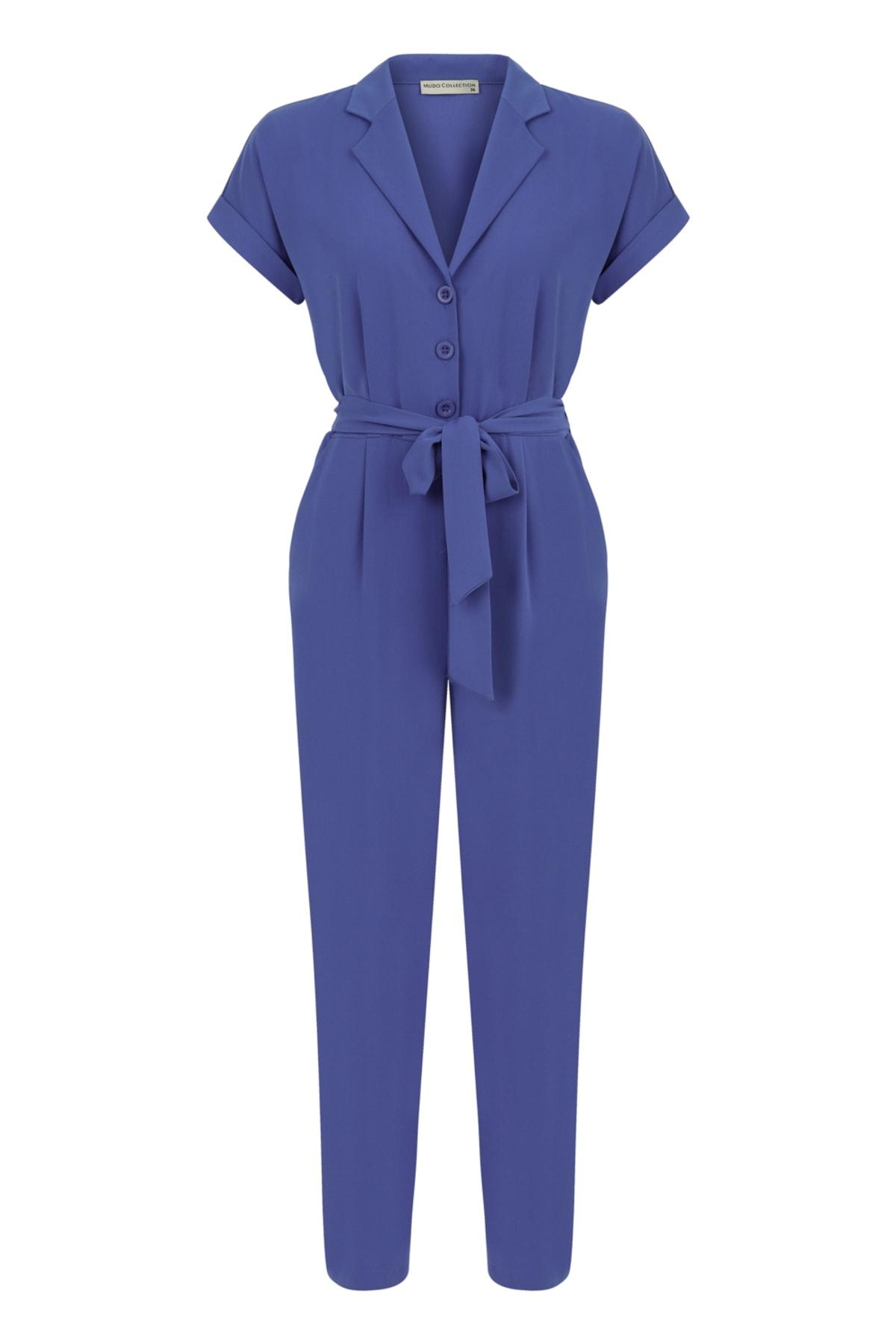 Kadın Mavi Bağlamalı Maxi Tulum 380350