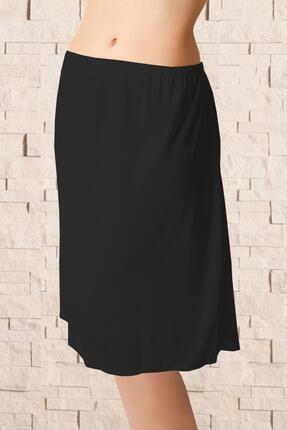 Kadın Sıyah Uzun Polyester Klasik Jüpon Kombinezon ELF568ANIL0616CCM