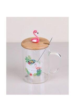 Perotti Bambu Kapaklı Metal Kaşıklı Flamingo Cam Kupa 0