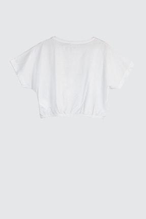 TRENDYOLMİLLA Beyaz Büzgülü Crop Örme T-Shirt TWOSS20TS1368 4