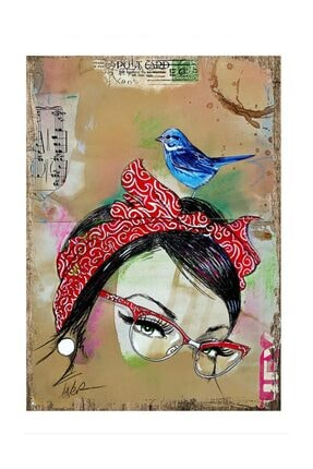Tablomega Mavi Kuş Art Mdf Tablo 0