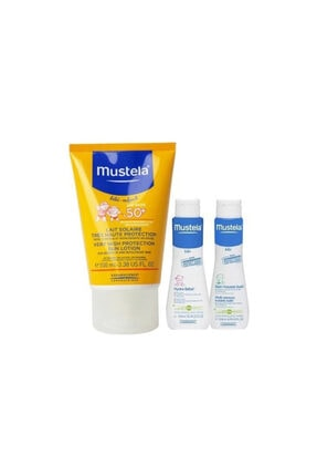 Mustela Very High Protection Sun Lotion +50 ml Gentle Cleansing Gel +50 ml Hydra Bebe 0