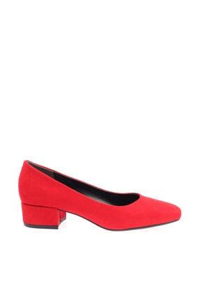Dgn Kırmızı Süet Kadın Topuklu Ayakkabı 601-1609 1