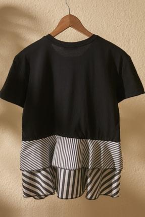 TRENDYOLMİLLA Siyah Volanlı Ve Çizgili Dokuma Detaylı Örme Bluz TWOSS20BZ1361 2
