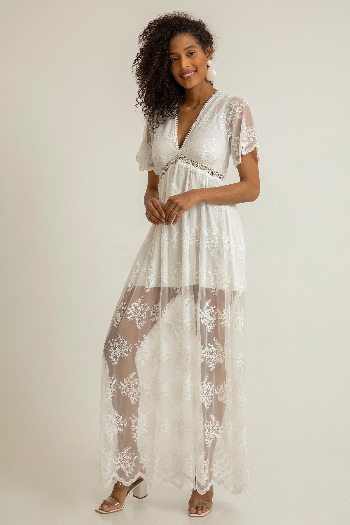 Foremia Kadın Beyaz Derin V Yaka Dantelli Elbise Rty040-001 0