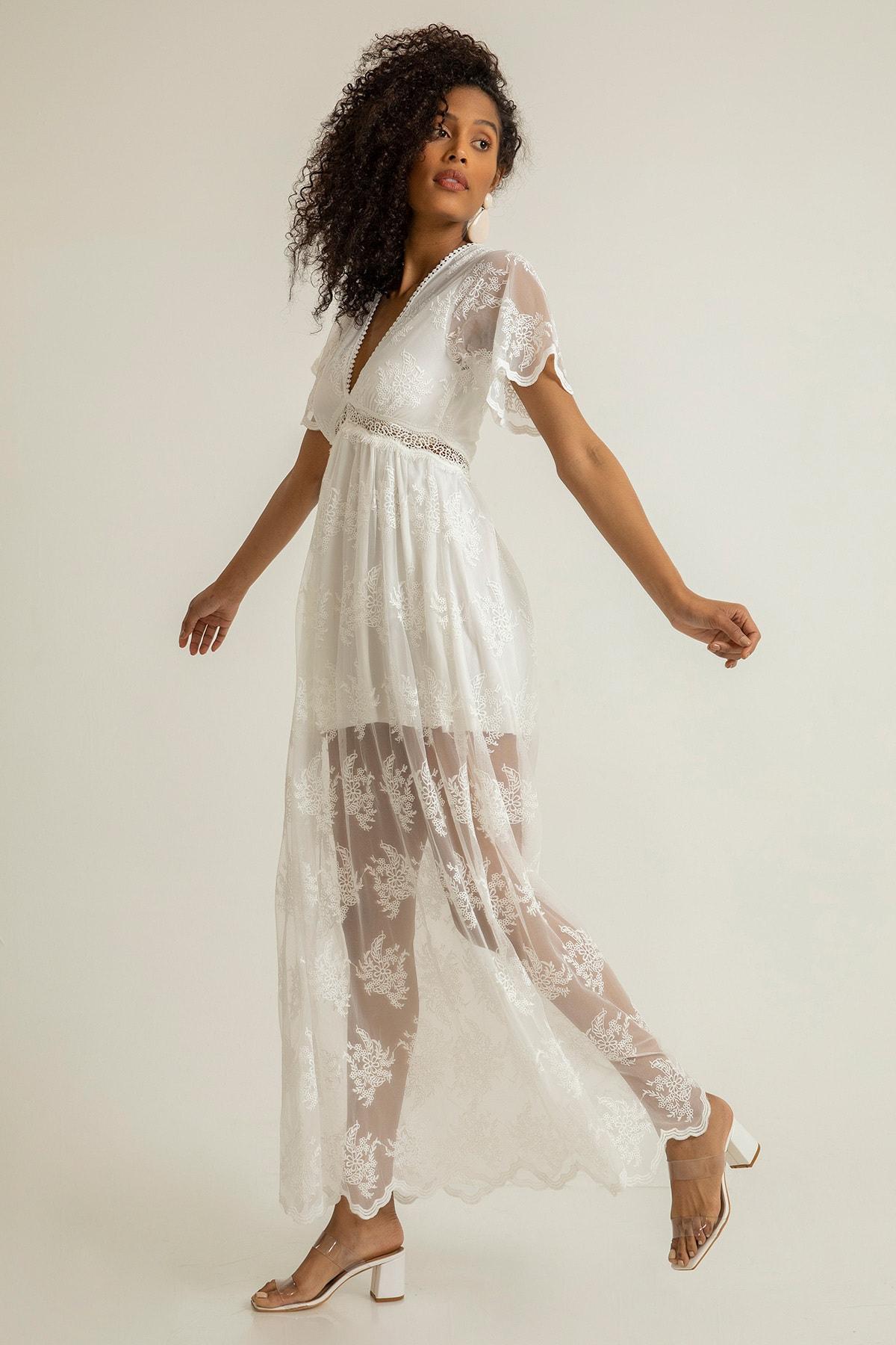 Foremia Kadın Beyaz Derin V Yaka Dantelli Elbise Rty040-001 1