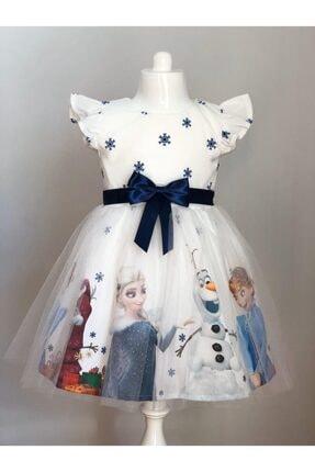 Buse&Eylül Bebe Beyaz Elsa Karlar Kraliçesi Kız Çocuk Elbisesi 0