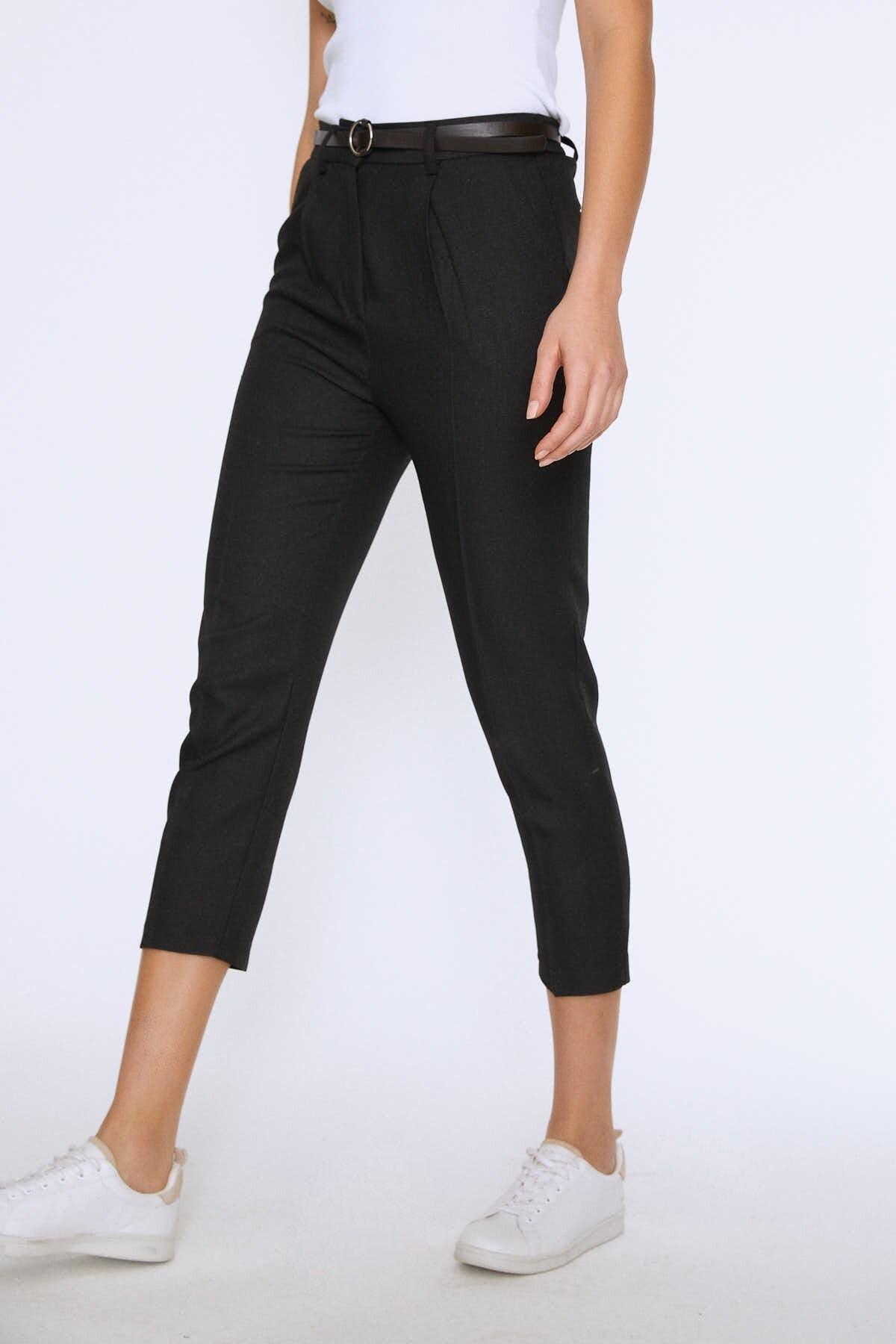 Quzu Kadın Yüksek Bel Kemerli Pantolon Siyah 20K70651-001 1