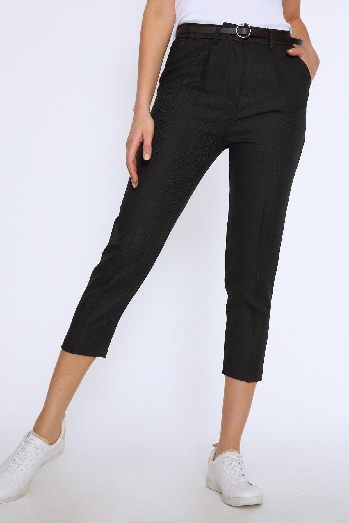 Quzu Kadın Yüksek Bel Kemerli Pantolon Siyah 20K70651-001 2