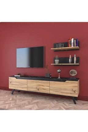 Rani Mobilya Rani D1 Duvar Raflı Kitaplıklı Tv Ünitesi Ahşap Ayaklı Tv Sehpası Mermer Desenli M48 0