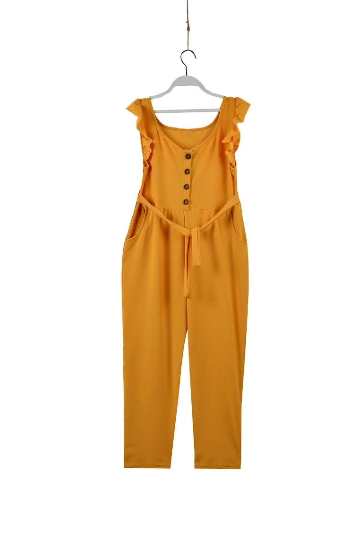 Kız Çocuk Önü Düğmeli Fırfırlı Tulum Sarı