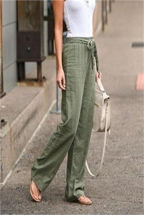 diaves Kadın Beli Lastikli Kuşak Detaylı Keten Pantolon 1
