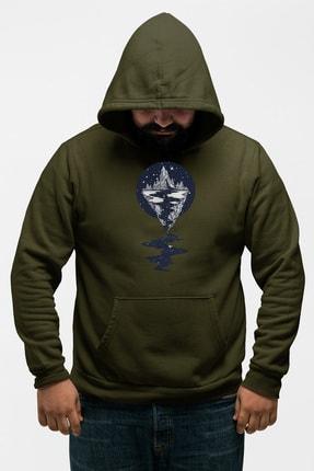 Angemiel Wear Dağ Nehir Motifleri Yeşil Erkek Kapüşonlu Sweatshirt 0