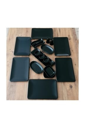 Demet Çeyiz Mat Siyah Kare Siera Keramika Takım Kahvaltı 18 Parça 6 Kişilik 0