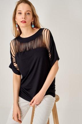 AQE FASHION Kadın Siyah Lazer Kesim Bluz 2