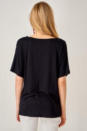 AQE FASHION Kadın Siyah Lazer Kesim Bluz 3