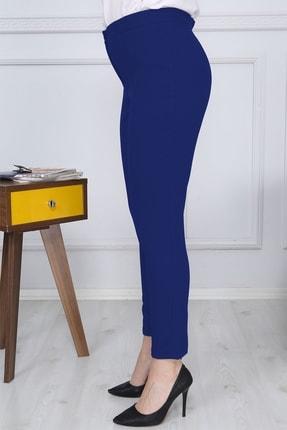 Gül Moda Saks Mavi Kemerli Dar Paça Kumaş Pantolon Likralı Cepsiz G011 2