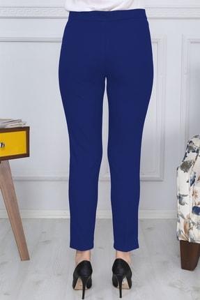 Gül Moda Saks Mavi Kemerli Dar Paça Kumaş Pantolon Likralı Cepsiz G011 3