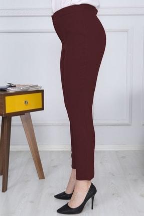 Gül Moda Bordo Kemerli Dar Paça Kumaş Pantolon Likralı Cepsiz G011 2