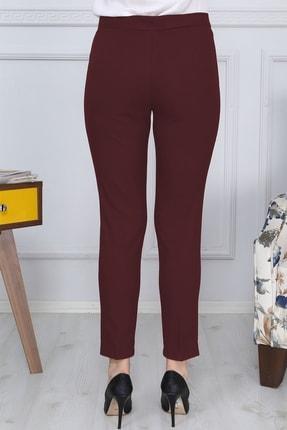 Gül Moda Bordo Kemerli Dar Paça Kumaş Pantolon Likralı Cepsiz G011 3