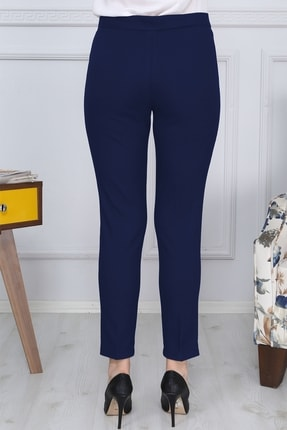 Gül Moda Lacivert Kemerli Dar Paça Kumaş Pantolon Likralı Cepsiz G011 3