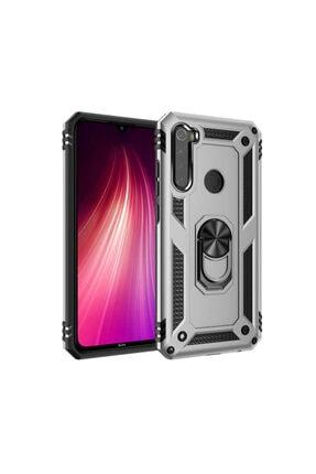 Telefon Aksesuarları Redmi Note 8 Kılıf Vega Tank Zırh Yüzüklü Mıknatıslı Standlı Kapak Gri 0