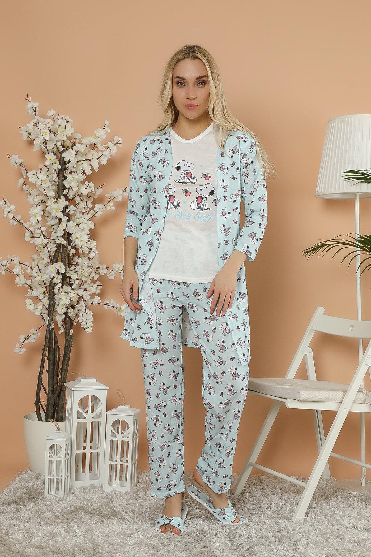 Kadın Desenli Baskılı 5'Li Set Sabahlık-Pijama Takım