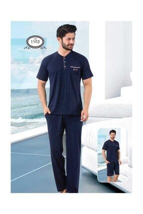 ALİMER Yazlık Erkek Pijama Takımı 3 Lü Şortlu Kutulu Çeyizlik 1