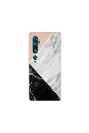 cupcase Xiaomi Mi Note 10 Kılıf Desenli Esnek Silikon Telefon Kabı Kapak - Siyah Pembe Beyaz Mermer 0