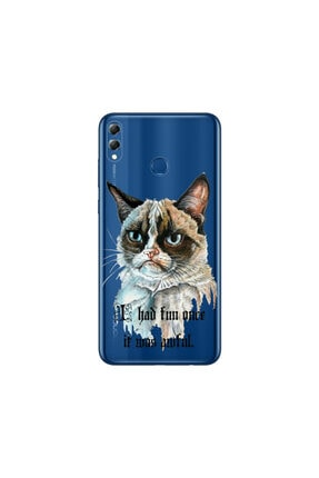 cupcase Huawei Honor 8c Kılıf Desenli Esnek Silikon Telefon Kabı Kapak - Kızgın Kedi 0