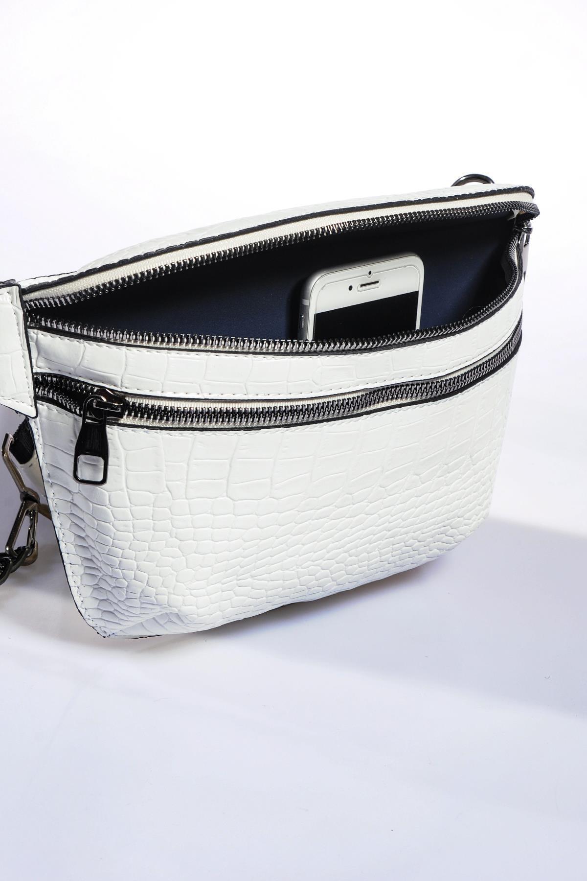 Sergio Giorgianni Kadın Beyaz Bel Çantası sg662-kroko beyaz 2