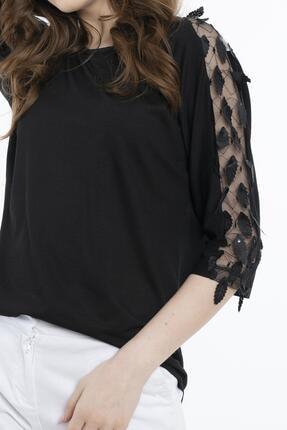 Hadise Kadın Siyah Siyah Dirsek Kol Yaprak Pullu Bluz 3463 1