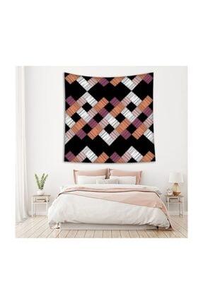 Henge Home Renkli Fırça Darbe Desenli Mor Beyaz Duvar Örtüsü 1