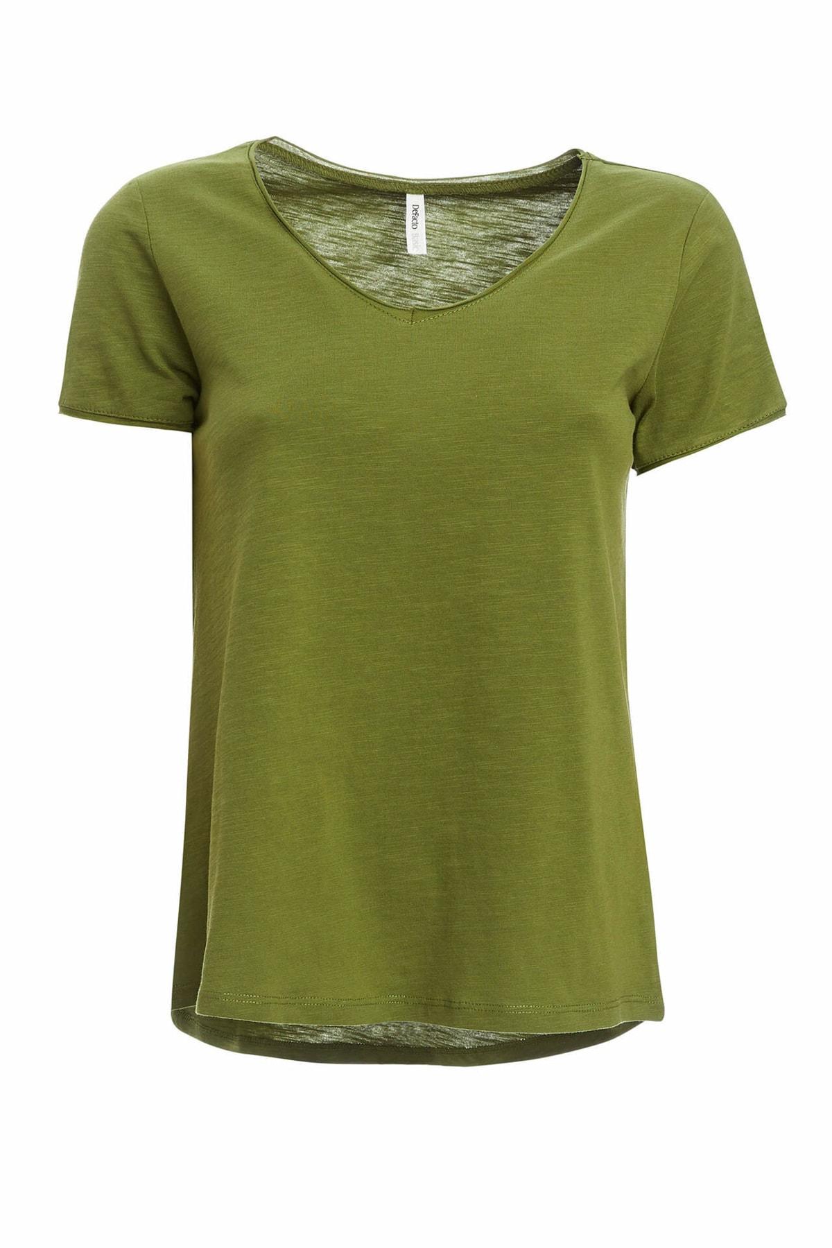 Kadın Yeşil V Yakalı Kısa Kollu T-Shirt K1507AZ.20SP.GN89