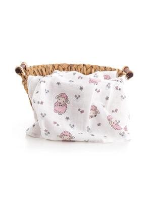 Caline Baby Müslin Bezi Örtü Kuzu Desen - Pembe 120x120 Cm + 4 Adet Ağız Mendili 2