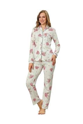 ALİMER Kadın Yazlık Uzun Kollu Önden Düğmeli Pijama Takımı Çiçek Desen 2