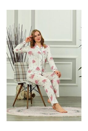 ALİMER Kadın Yazlık Uzun Kollu Önden Düğmeli Pijama Takımı Çiçek Desen 4